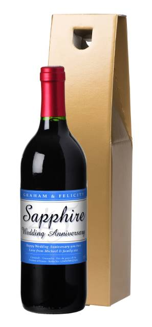 Personalised French VdP Red Wine with 45th Anniversary Label in a Gold Box