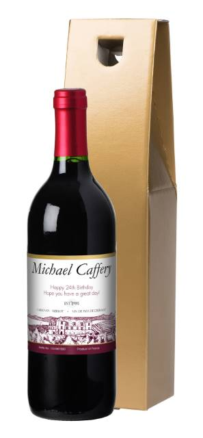 Personalised French VdP Red Wine with Gold Label in a Silk Lined Box