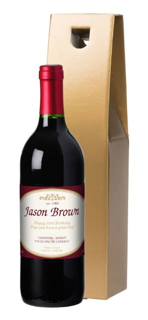 Personalised French VdP Red Wine with Traditional Label in a Gold Gift Box