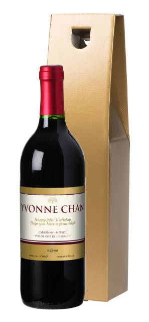 Personalised French VdP Red Wine with Vineyard Label in a Gold Gift Box