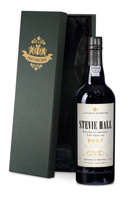Personalised Port with Antique Label in a Silk Lined Box