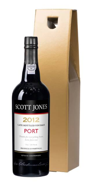 Personalised Port with Contemporary Label in a Gold Gift Box