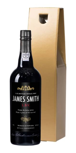 Personalised Port - with Traditional Black Label in a Gold Gift Box
