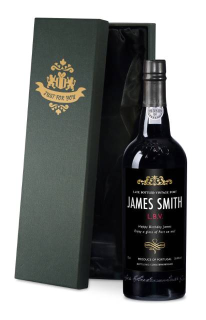 Personalised Port - with Traditional Black Label in a Silk Lined Box