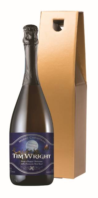 Personalised Prosecco with Christmas Santa Label in a Gold Box
