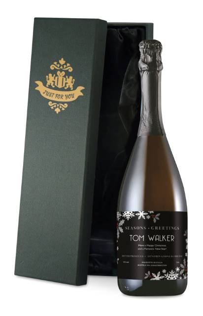 Personalised Prosecco with Christmas Snowflakes Label in a Silk Lined Box