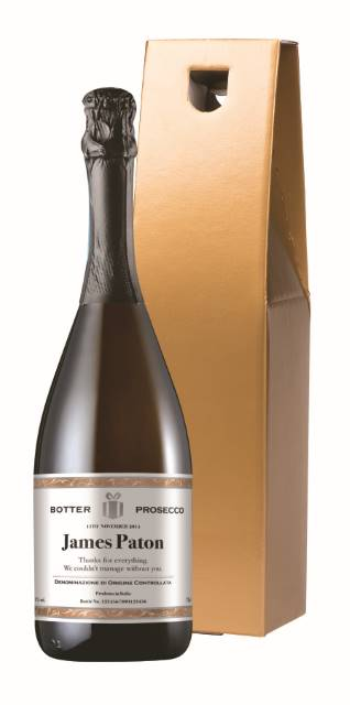 Personalised Prosecco with Classic White Label in a Gold Box