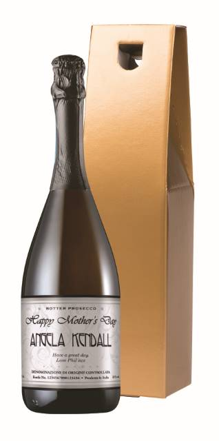 Personalised Prosecco with Mother's Day Elegant Label in a Gold Box