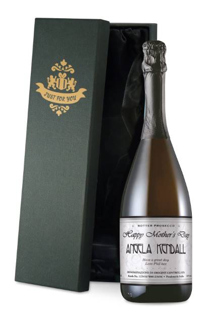 Personalised Prosecco with Mother's Day Elegant Label in a Silk Lined Box