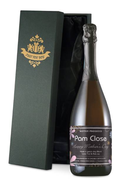 Personalised Prosecco with Mother's Day Flowers Label in a Silk Lined Box