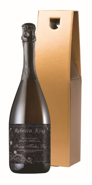 Personalised Prosecco with Mother's Day Ornate Label in a Gold Box