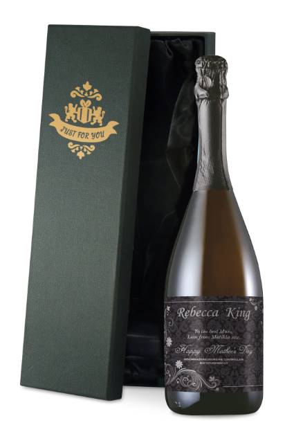 Personalised Prosecco with Mother's Day Ornate Label in a Silk Lined Box