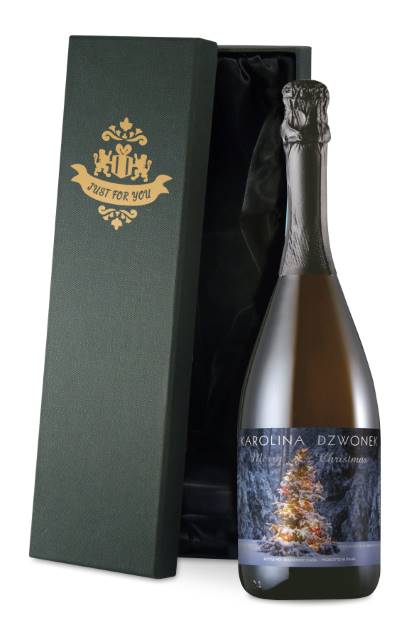 Personalised Prosecco with Tree Lights Christmas Label in a Silk Lined Box