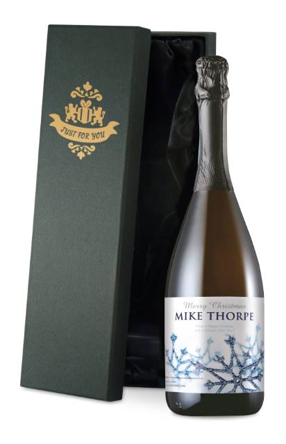 Personalised Prosecco with Winter Snow Label in a Silk Lined Box