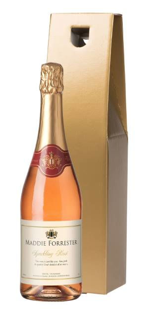 Personalised Sparkling Rose Celebrate Label in Gold Gift Box