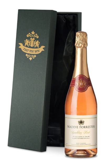 Personalised Sparkling Rose Celebrate Label in Silk Lined Box