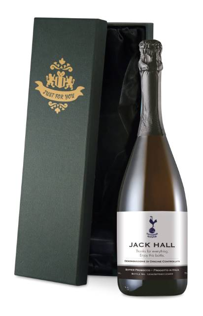 Personalised Spurs Corporate Prosecco with Classic Label in a Silk Lined Box