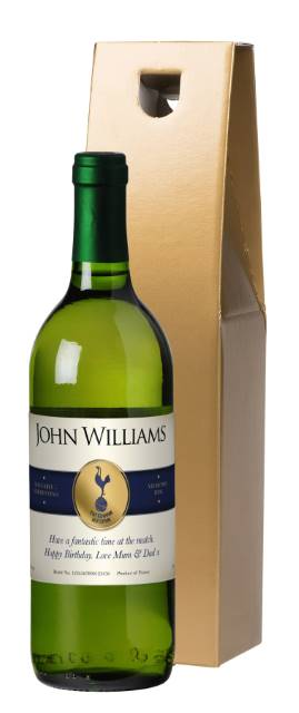 "Personalised Spurs French AC White Wine ""Blue Band"" in a Gold Box"