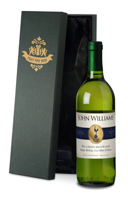"Personalised Spurs French AC White Wine ""Blue Band"" in a Silk Lined Box"