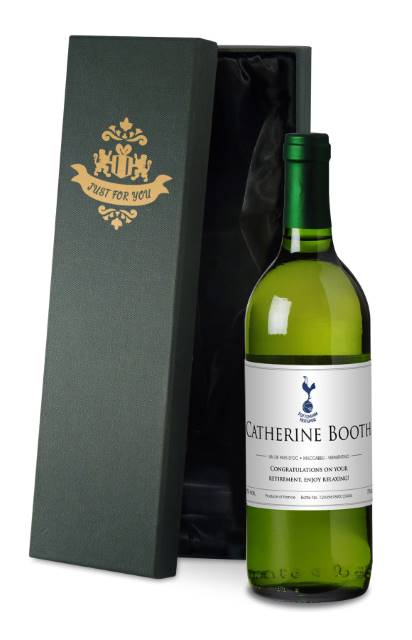 Personalised Spurs French AC White Wine Classic' in a Silk Lined Box