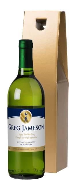 "Personalised Spurs French AC White Wine ""Gold"" in a Silk Lined Box"
