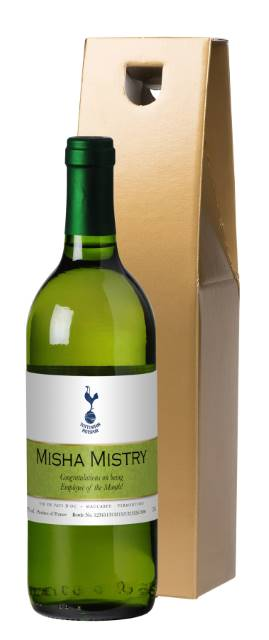 Personalised Spurs French AC White Wine - Ribbon Design in a Gold Box