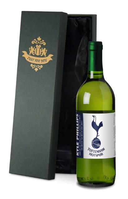 Personalised Spurs French AC White Wine Simply - in a Silk Lined Box