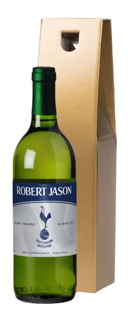"Personalised Spurs French AC White Wine ""Vintage"" in a Gold Box"