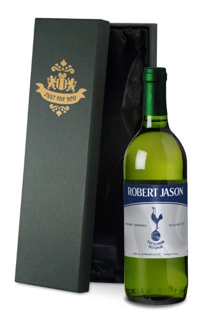 Personalised Spurs French AC White Wine Vintage in a Silk Lined Box