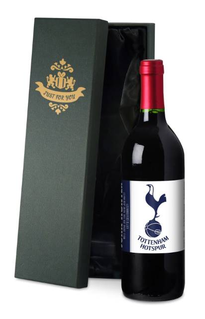 Personalised Spurs French VdP Red Wine, Simply Label in a Silk Lined Box