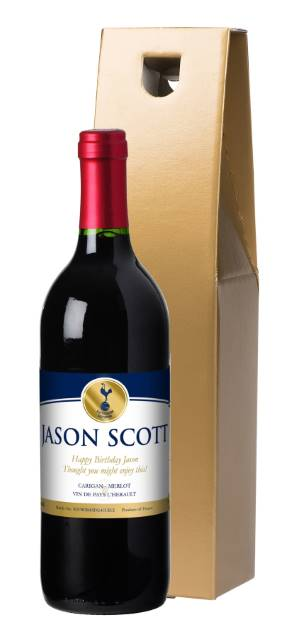 Personalised Spurs French VdP Red Wine Gold Label in a Silk Lined Box