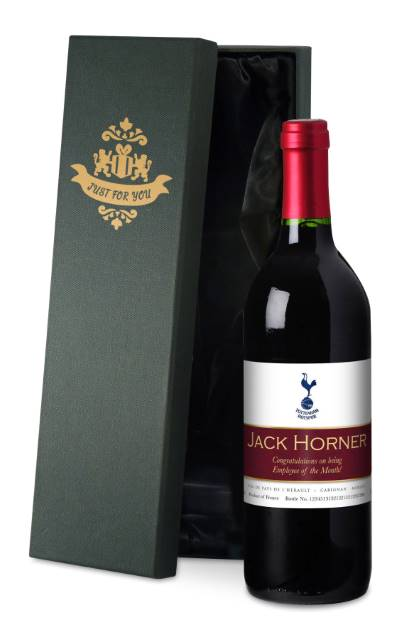 Personalised Spurs French VdP Red Wine Ribbon Label in a Silk Lined Box