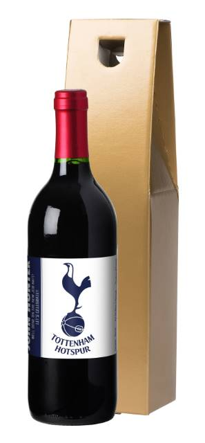 "Personalised Spurs French VdP Red Wine ""Simply"" label in a Gold Box"