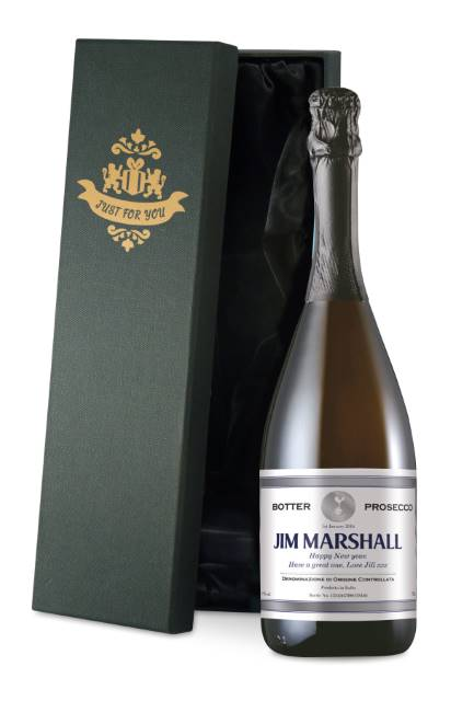 Personalised Spurs Prosecco with Silver Frame Label in a Silk Lined Box