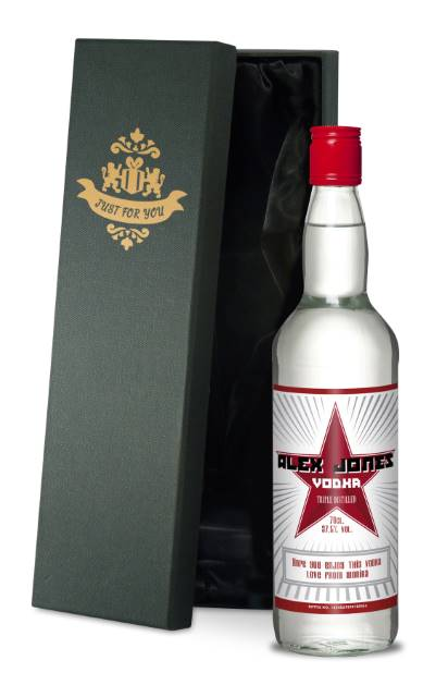 Personalised Vodka with Red Star Label in a Premium Silk Lined Box