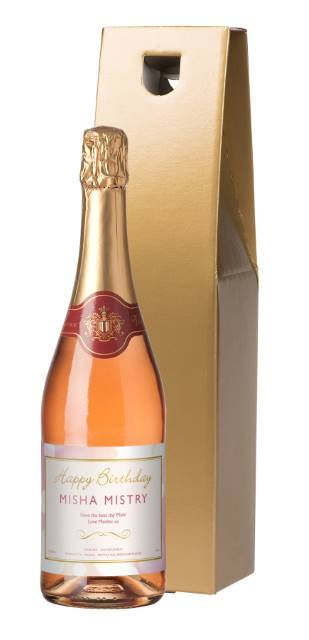 Sparkling Rose Wine with Birthday Label in Gold Gift Box
