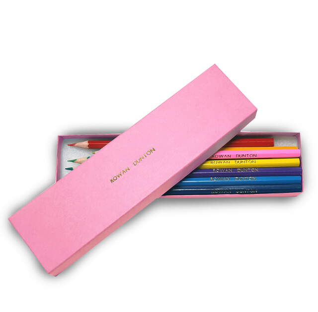 12 Colouring Pencils in a Pink Box