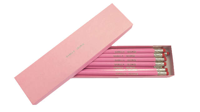 12 Pink Pencils with Silver in a Pink Box