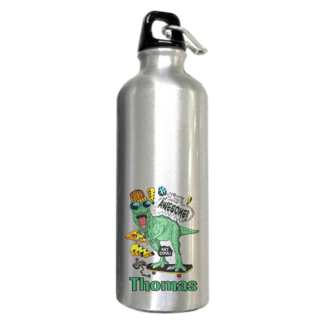 Awesome Dinosaur Aluminium Silver Water Bottle