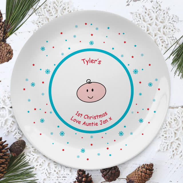 "Baby's Cartoon 1st Christmas 8"" Coupe Plate"