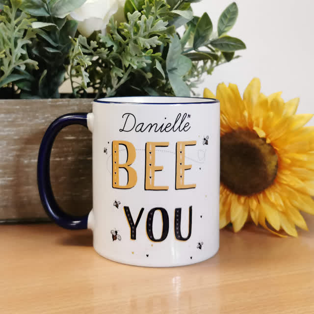 Bee You Navy Handled Mug