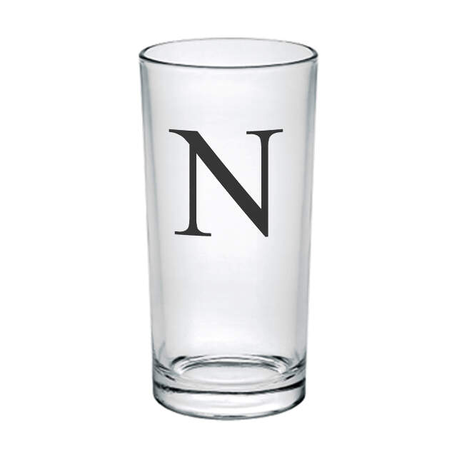 Black Monogram Hi Ball Glass
