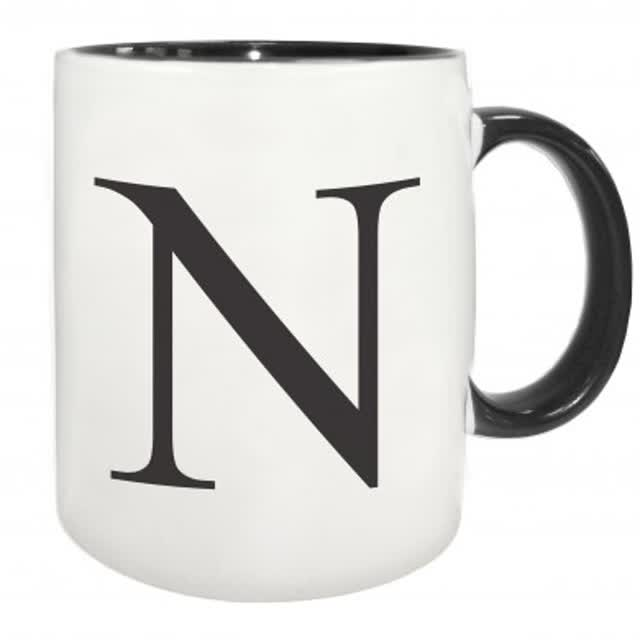 Black Monogram Initial Mug with Black inside