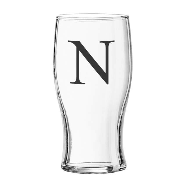 Black Monogram Tulip Glass