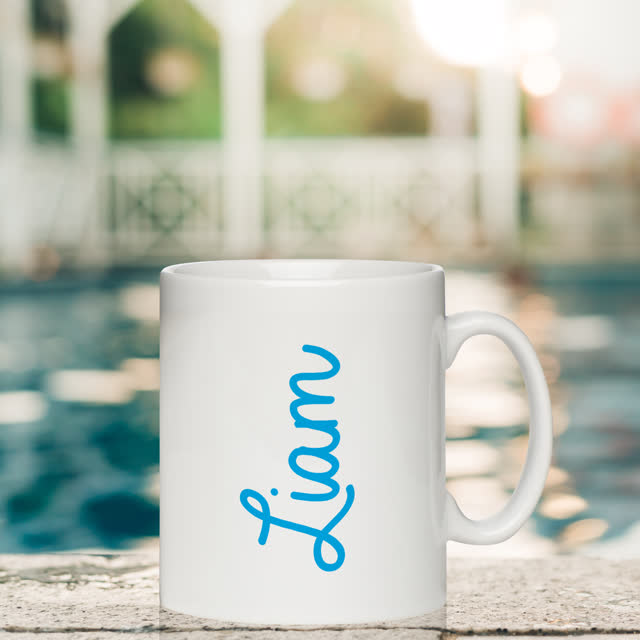 Blue Name White Mug