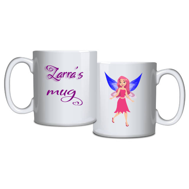 Blue Wings Pink Fairy Personalised Mug