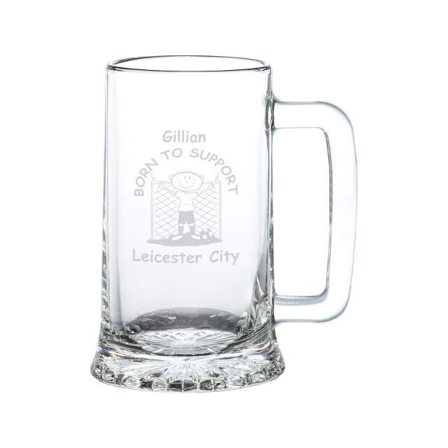 Born To Support Glass Tankard