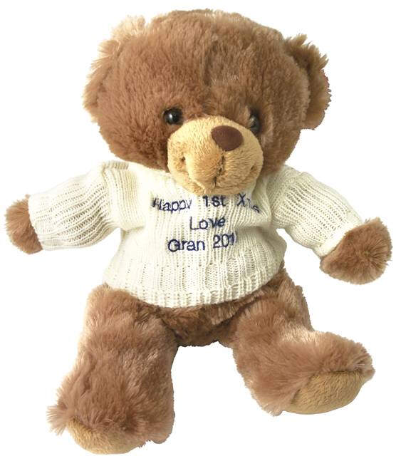 Brown Teddy Bear with Embroidered Cream Jumper