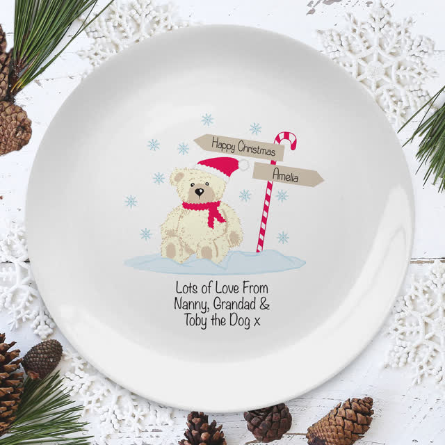 "Candy Cane Christmas Bear 8"" Coupe Plate"
