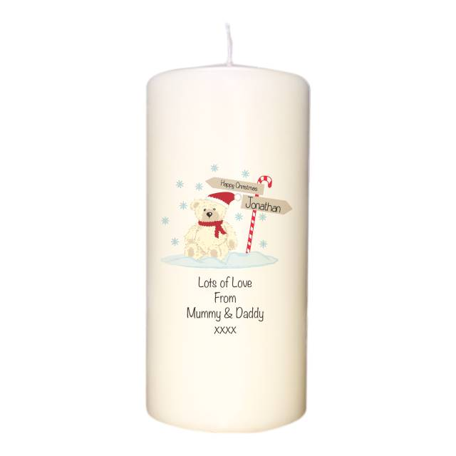 Candy Cane Christmas Bear Candle